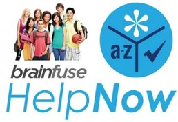 Group of students next to the logo of HelpNow  online tutoring from Brainfuse