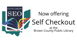 "SEO Libraries app logo with text reading: ""Now offering self checkout at the Brown County Public Library"""